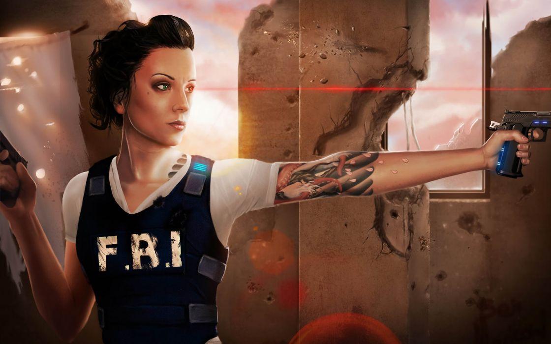 Tattoos women police weapons fbi drawings wallpaper