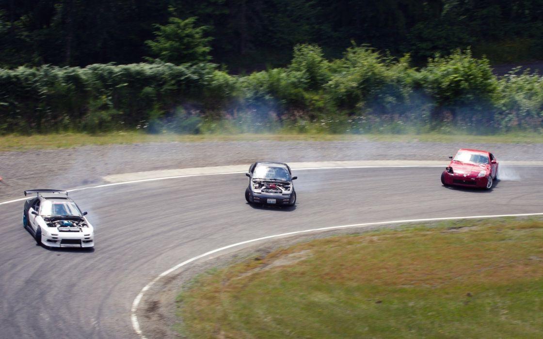 Cars drifting cars nissan 350z drifting nissan 200sx wallpaper