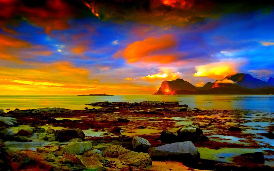 Clouds landscapes beach horizon rocks wallpaper