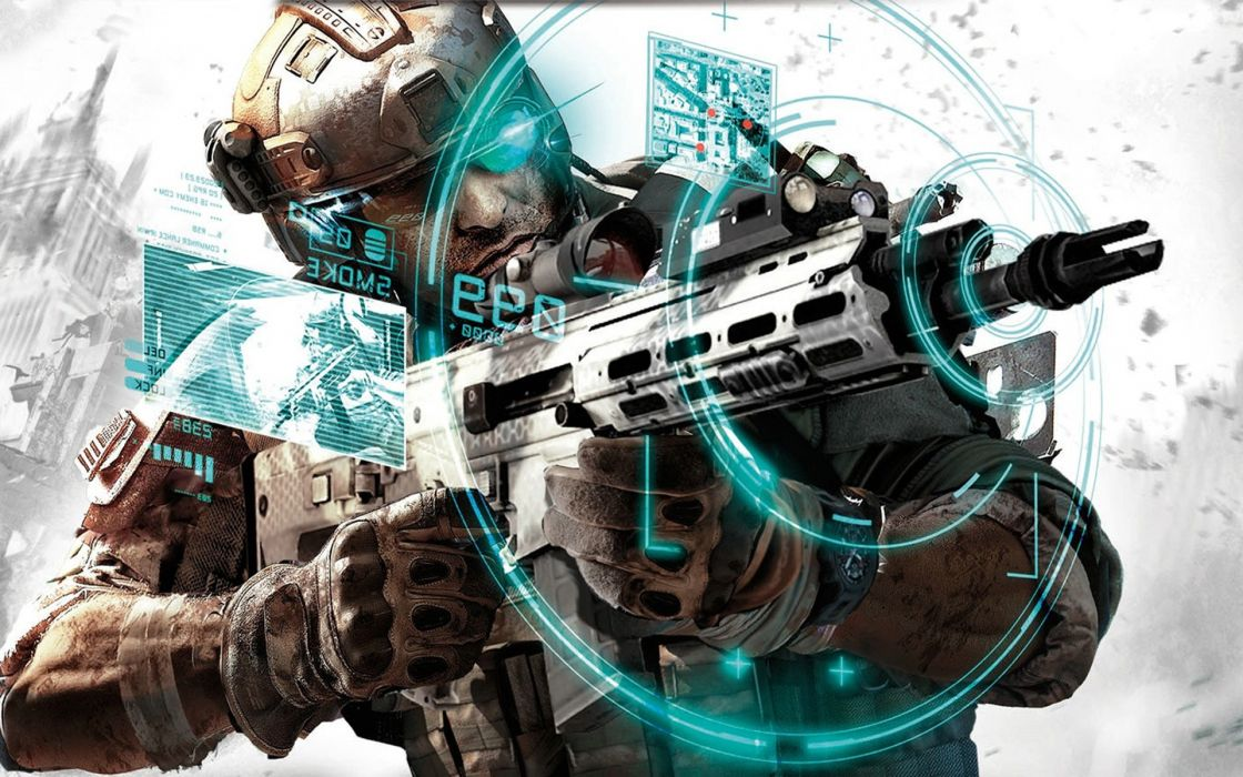 Soldiers video games army futuristic rifles ghost recon wallpaper