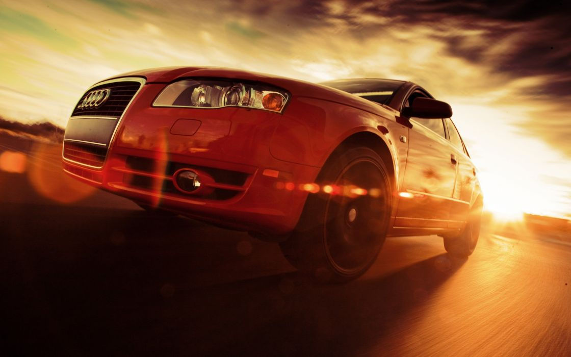 Angle shot sunny b7 german cars blurred background wallpaper