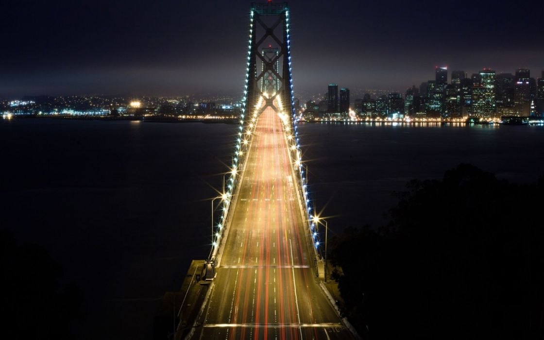Light cityscapes night bridges wallpaper