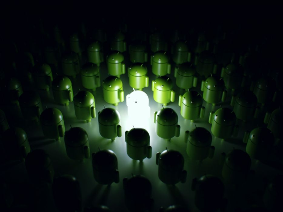 Green dark army robots android techno glowing technologic wallpaper