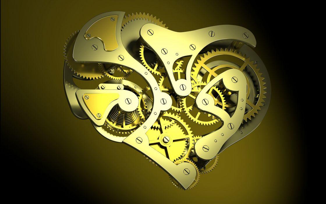 Abstract mechanical hearts wallpaper