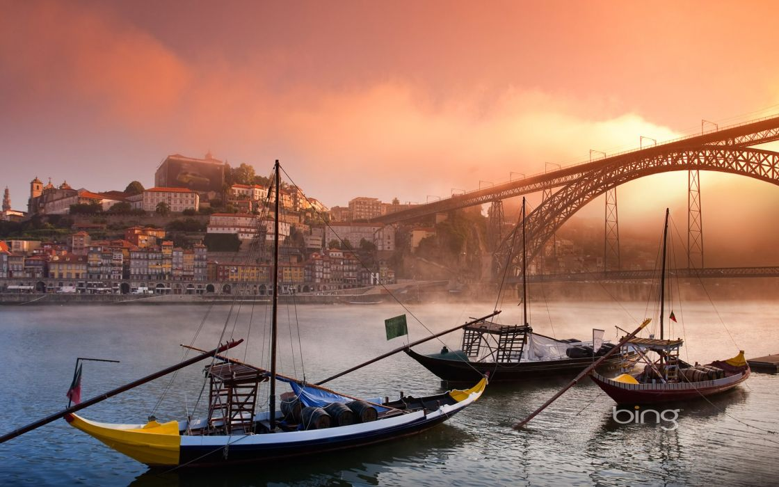 Beach cityscapes mist bridges portugal rivers porto bing oporto wallpaper