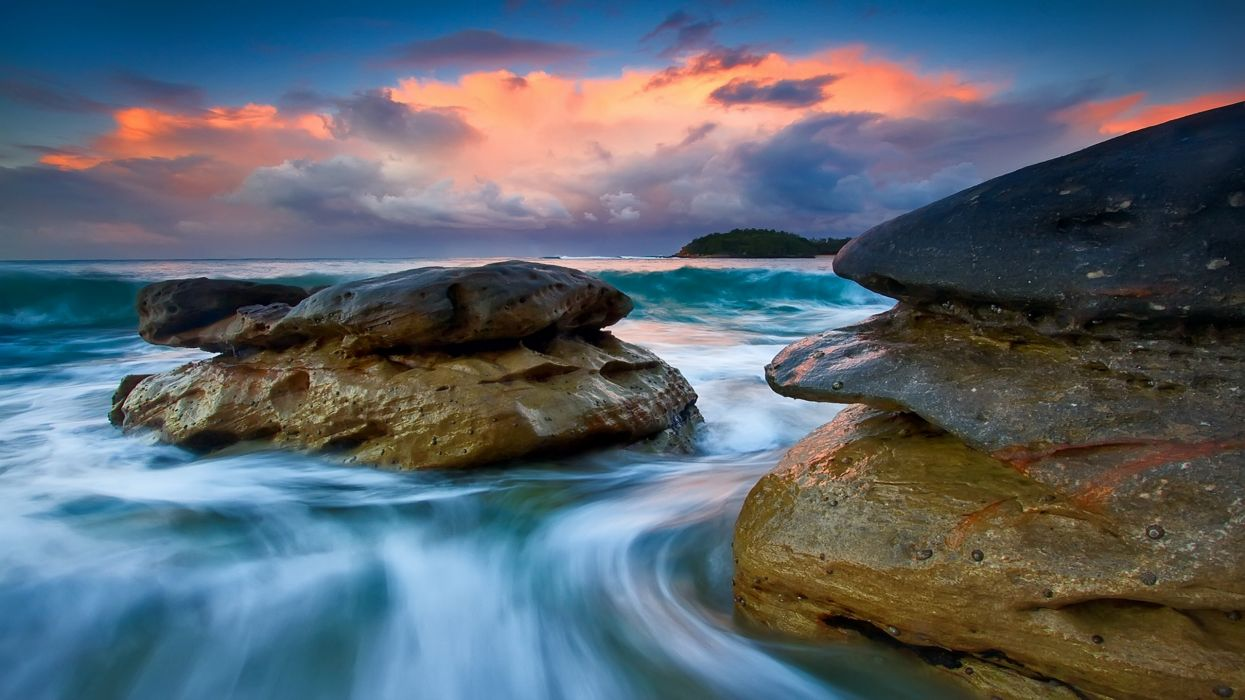 Clouds landscapes nature beach rocks shore hdr photography skyscapes wallpaper