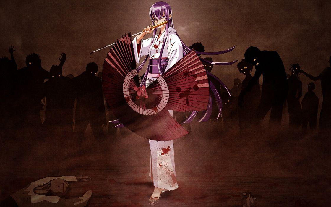 Women assassins zombies samurai highschool of the dead busujima saeko anime umbrellas japanese clothes wallpaper