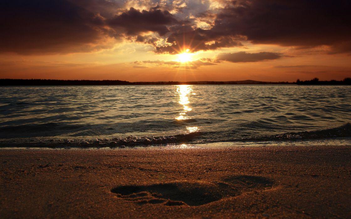 Water sunset landscapes beach footprint wallpaper