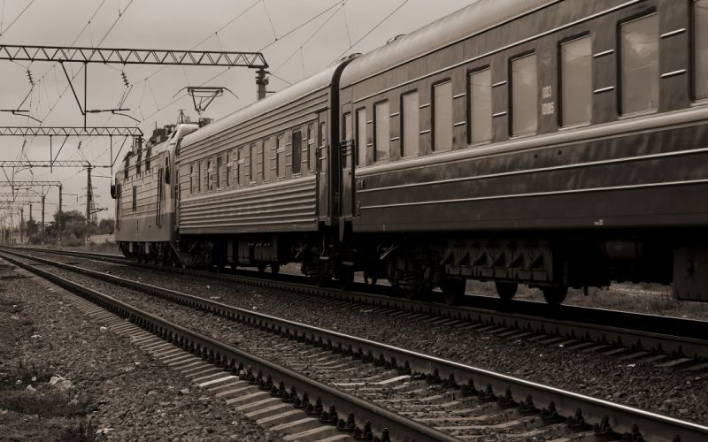Trains railroad tracks monochrome vehicles wallpaper