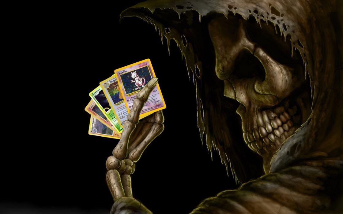 Skulls skeletons pokemon cards wallpaper