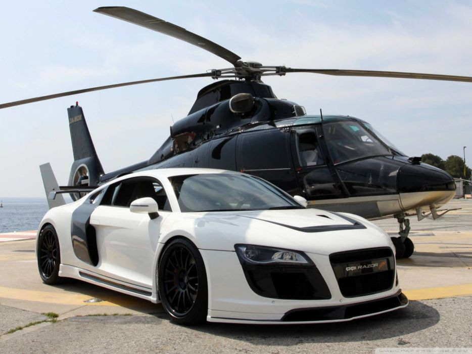 Helicopters cars vehicles audi r8 audi r8 razor gtr wallpaper