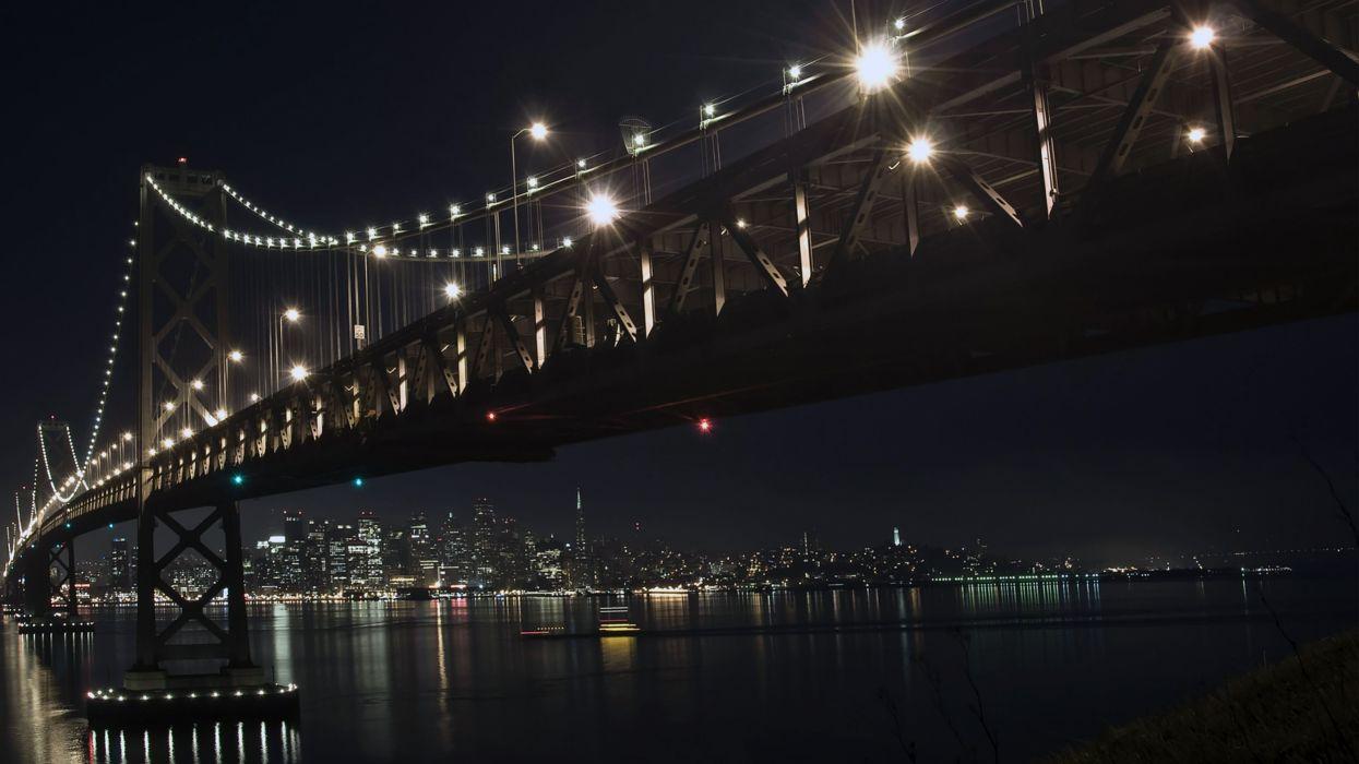 Cityscapes lights bridges buildings wallpaper