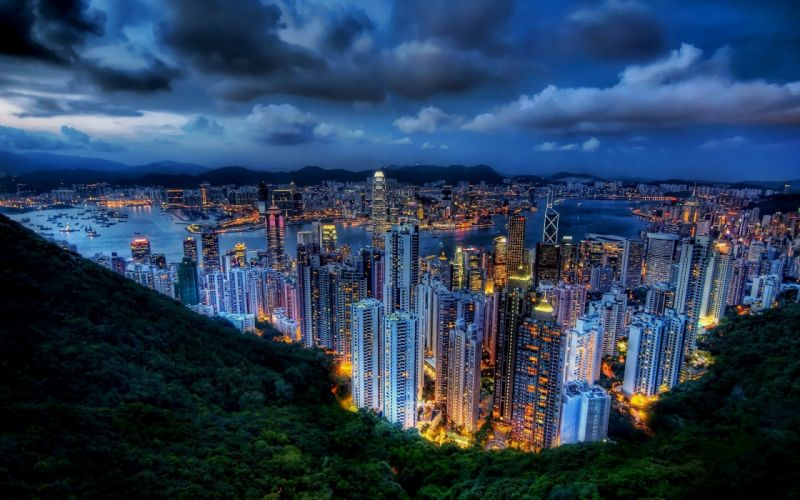 Cityscapes buildings hong kong city skyline wallpaper