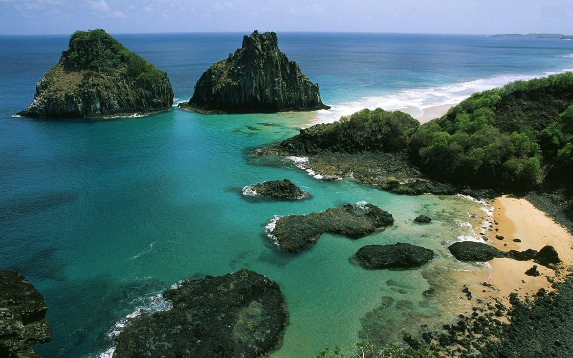 Nature beach seas rock brazil wallpaper