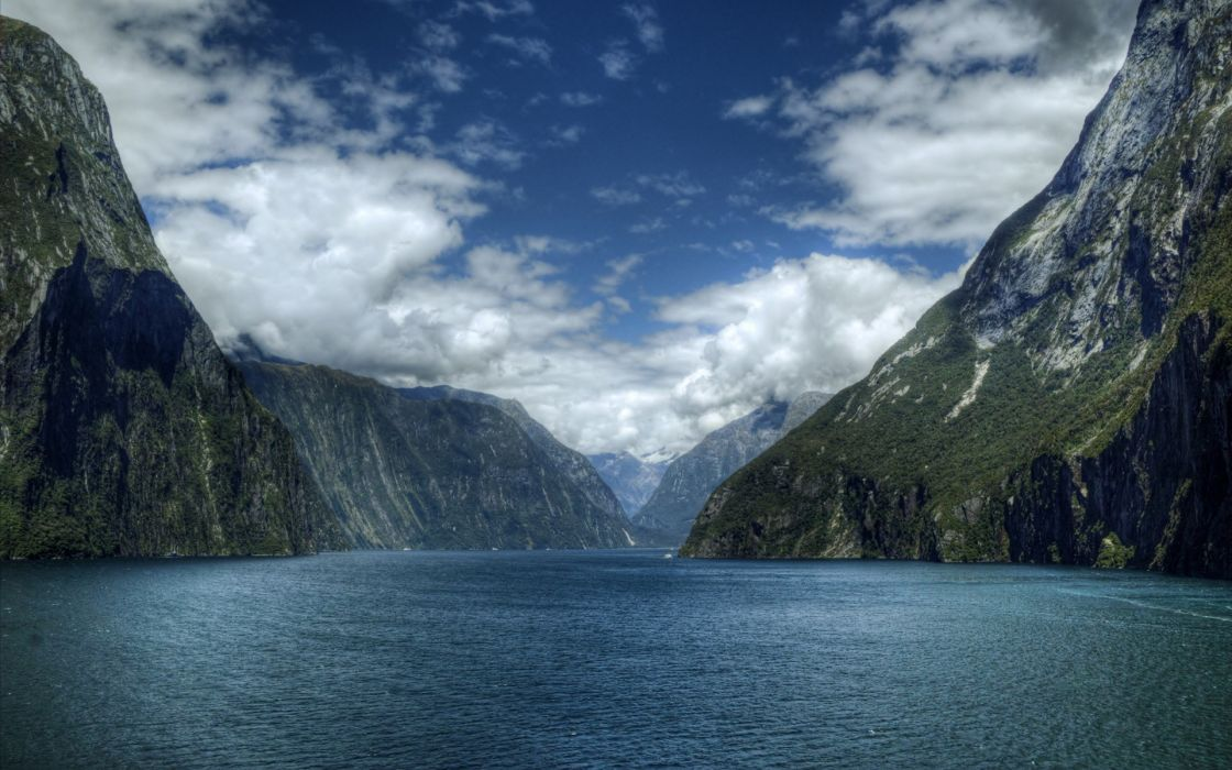 Water mountains clouds landscapes nature skylines lakes wallpaper