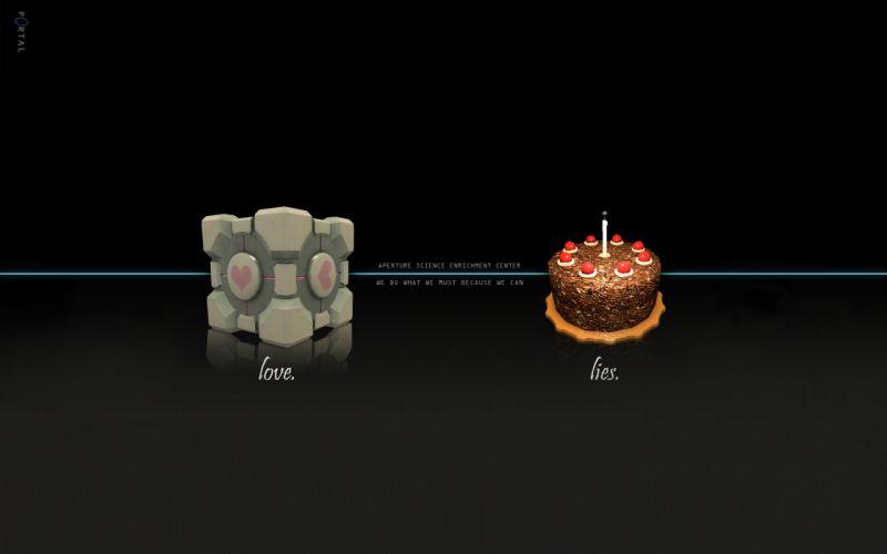 Portal companion cube aperture laboratories cakes wallpaper