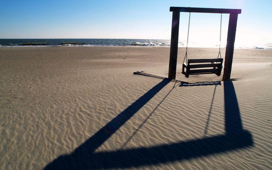 Ocean beach sand swing wallpaper