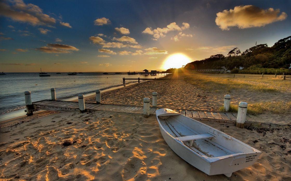 Sunset nature beach boats vehicles wallpaper