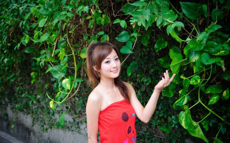 Women asians taiwan red dress mikako zhang kaijie wallpaper