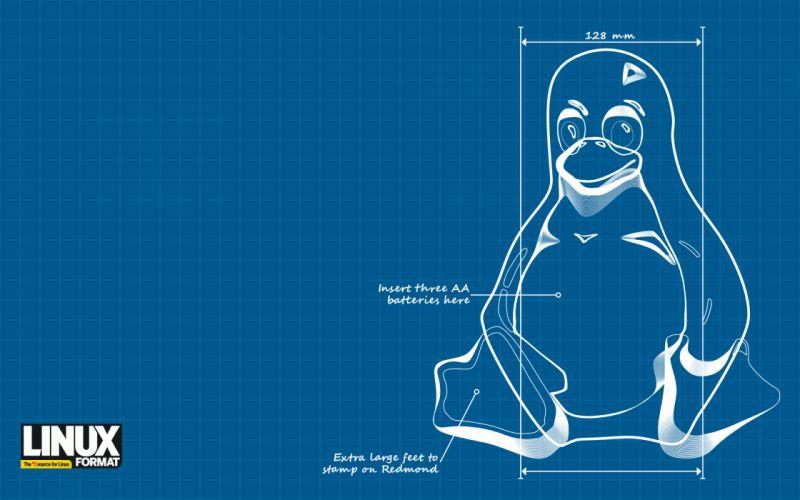 Linux tux schematic wallpaper