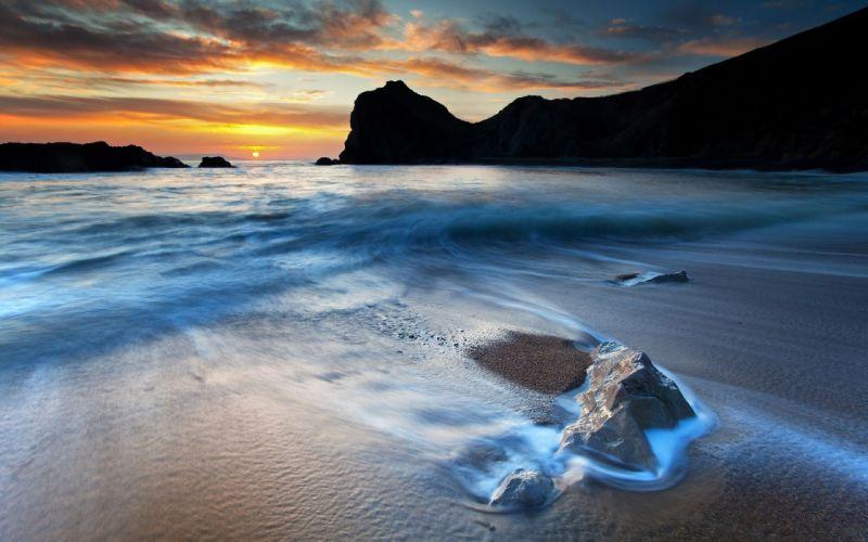 Sunset beach seas wallpaper