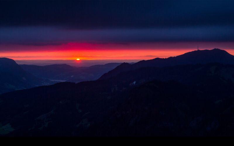 Sunset clouds landscapes nature night germany hills bavaria wallpaper