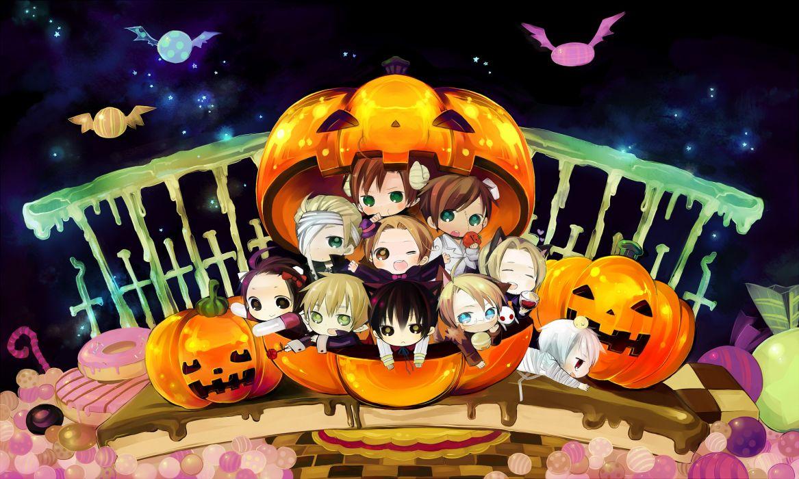 Japan england china germany halloween france chibi usa italy anime prussia axis powers hetalia wallpaper