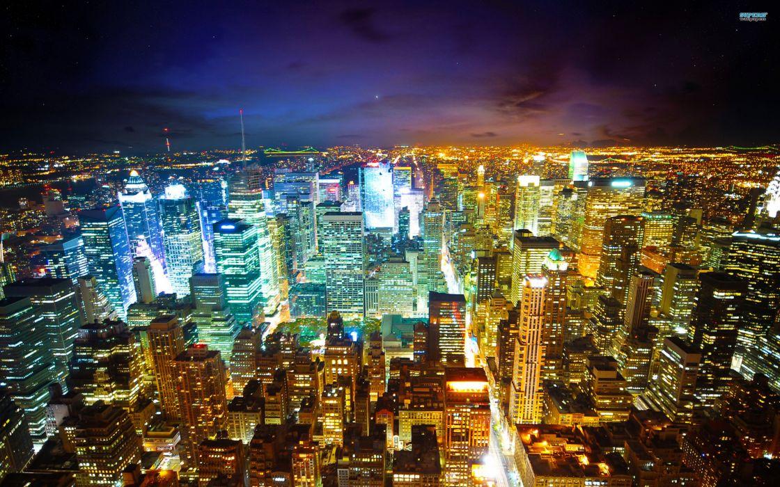 Cityscapes skylines night new york city wallpaper