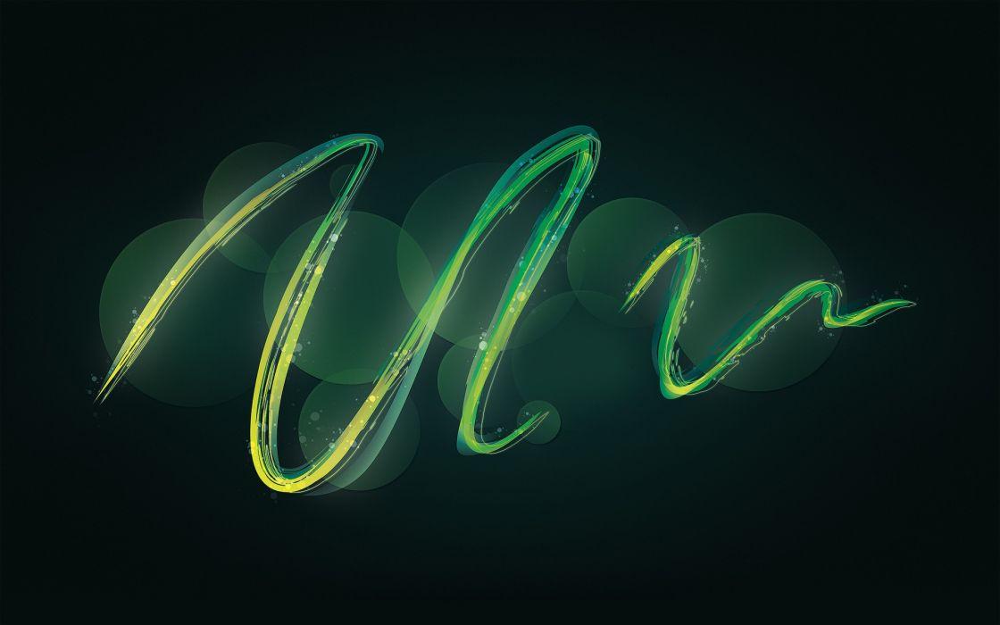 Green abstract waves digital art swirls wallpaper