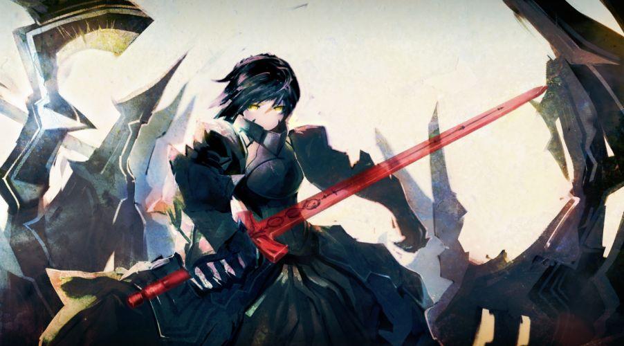 Fatestay night weapons armor yellow eyes photoshop anime girls swords saber alter black hair wallpaper