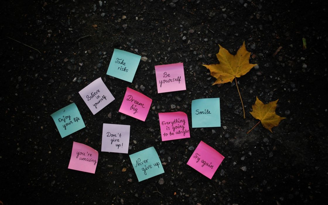 Texts leaves quotes post it note notes wallpaper