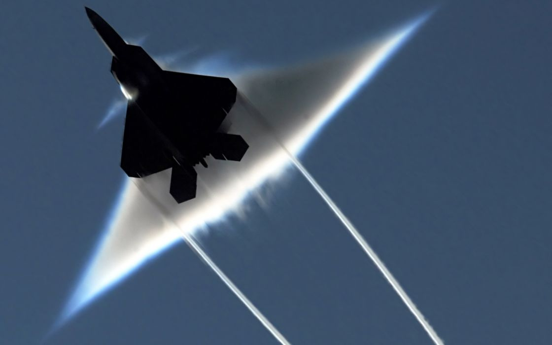 22 Raptor contrails braking sound barrier wallpaper
