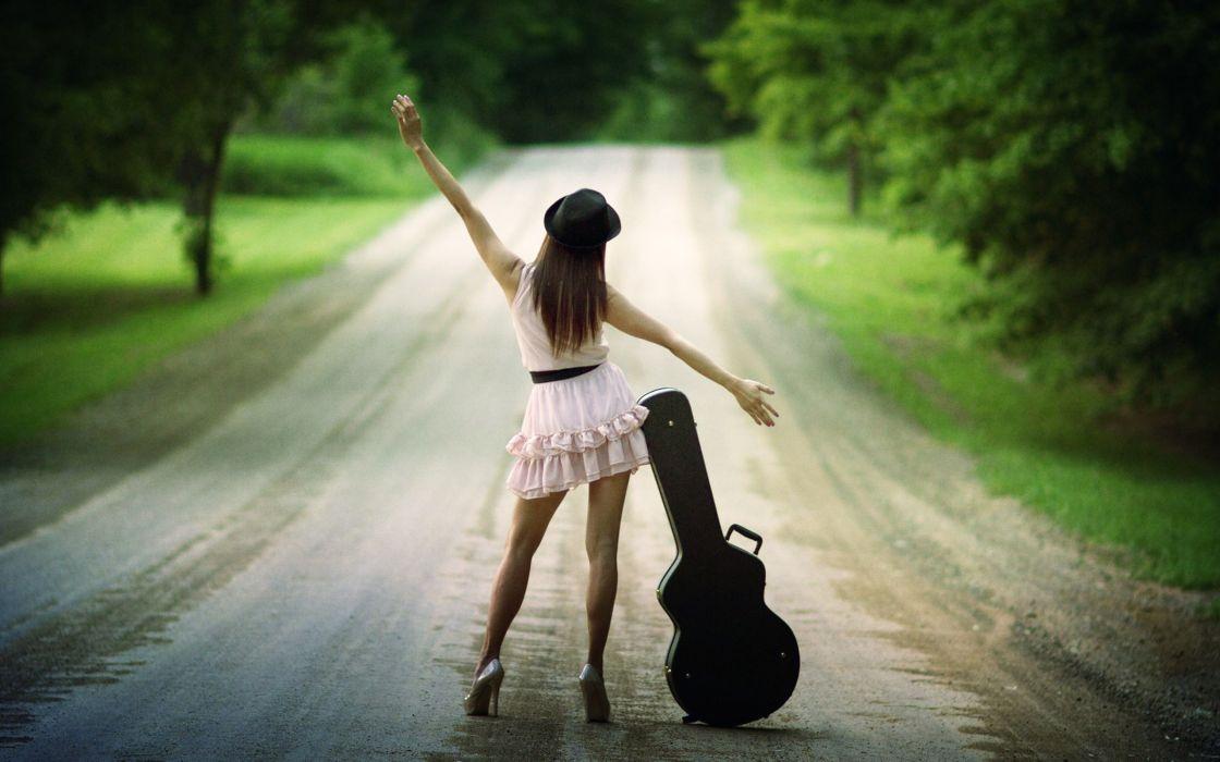 Brunettes legs women music dress alone high heels guitars roads pumps hats arms arms raised summer dress wallpaper
