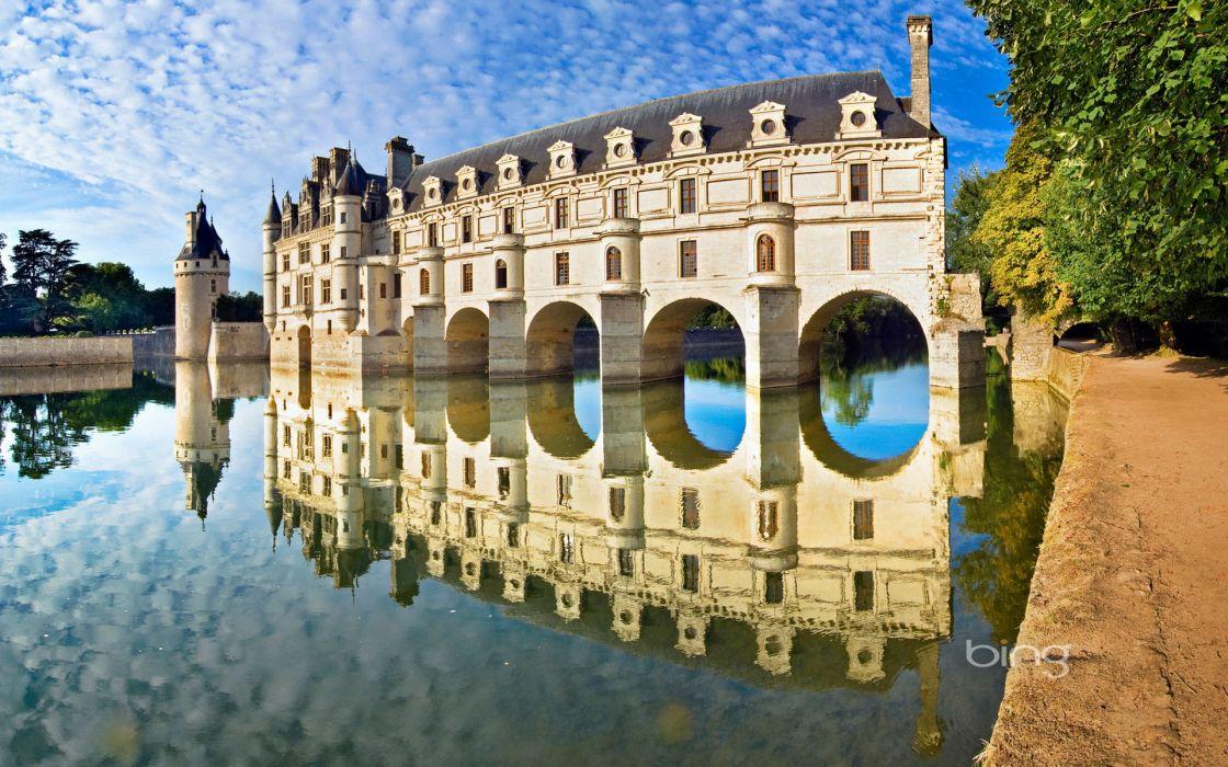 Castles bridges chenonceau loire valley castles reflections wallpaper