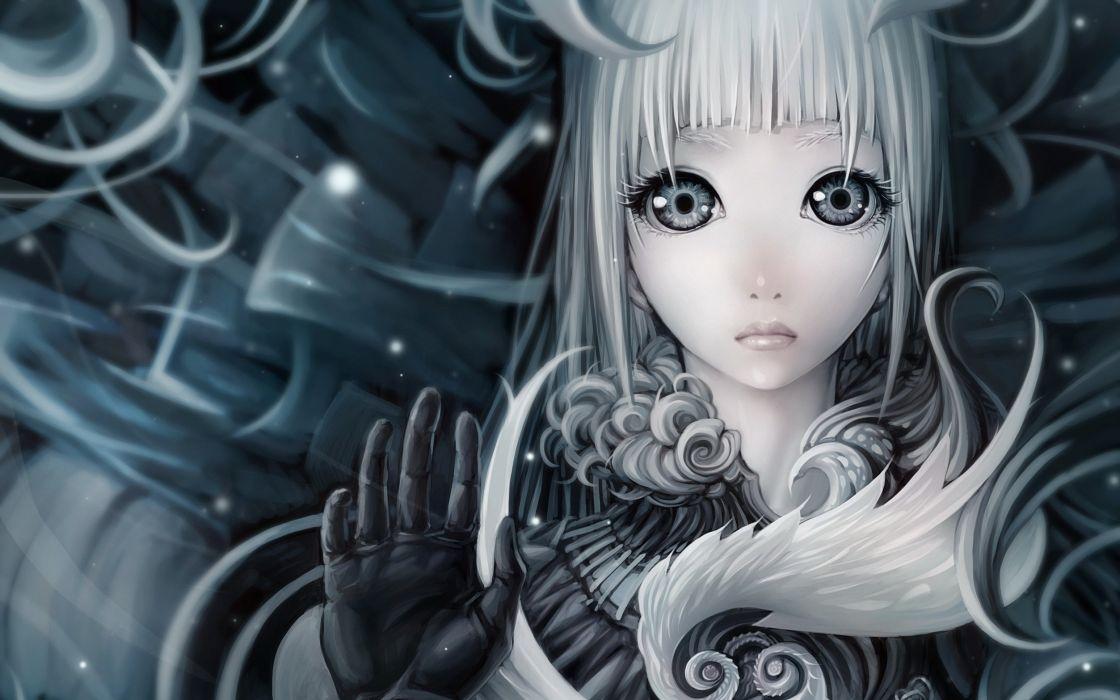 Women gloves gray long hair gray eyes white hair soft shading anime girls faces original character wallpaper