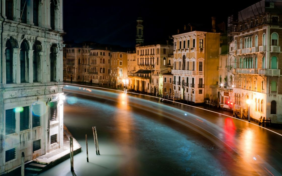 Light night world venice italy long exposure rivers colors wallpaper