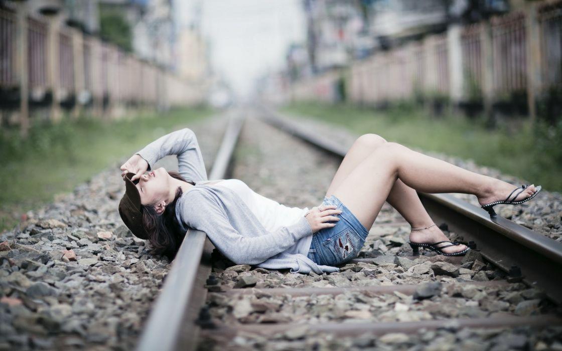 Women models railroads wallpaper