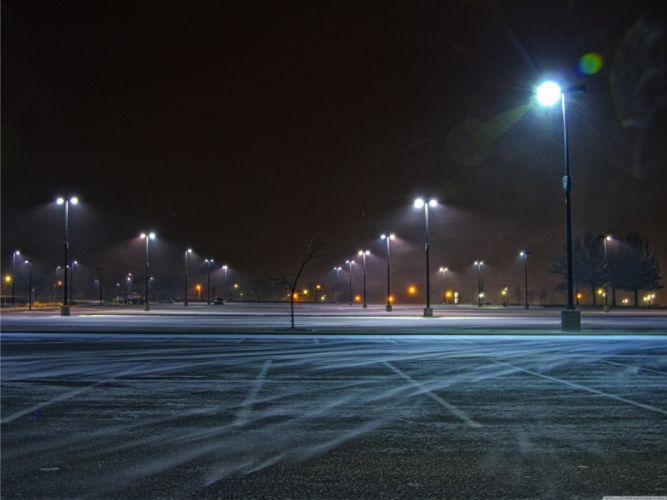 Winds street lights asphalt parking lot wallpaper