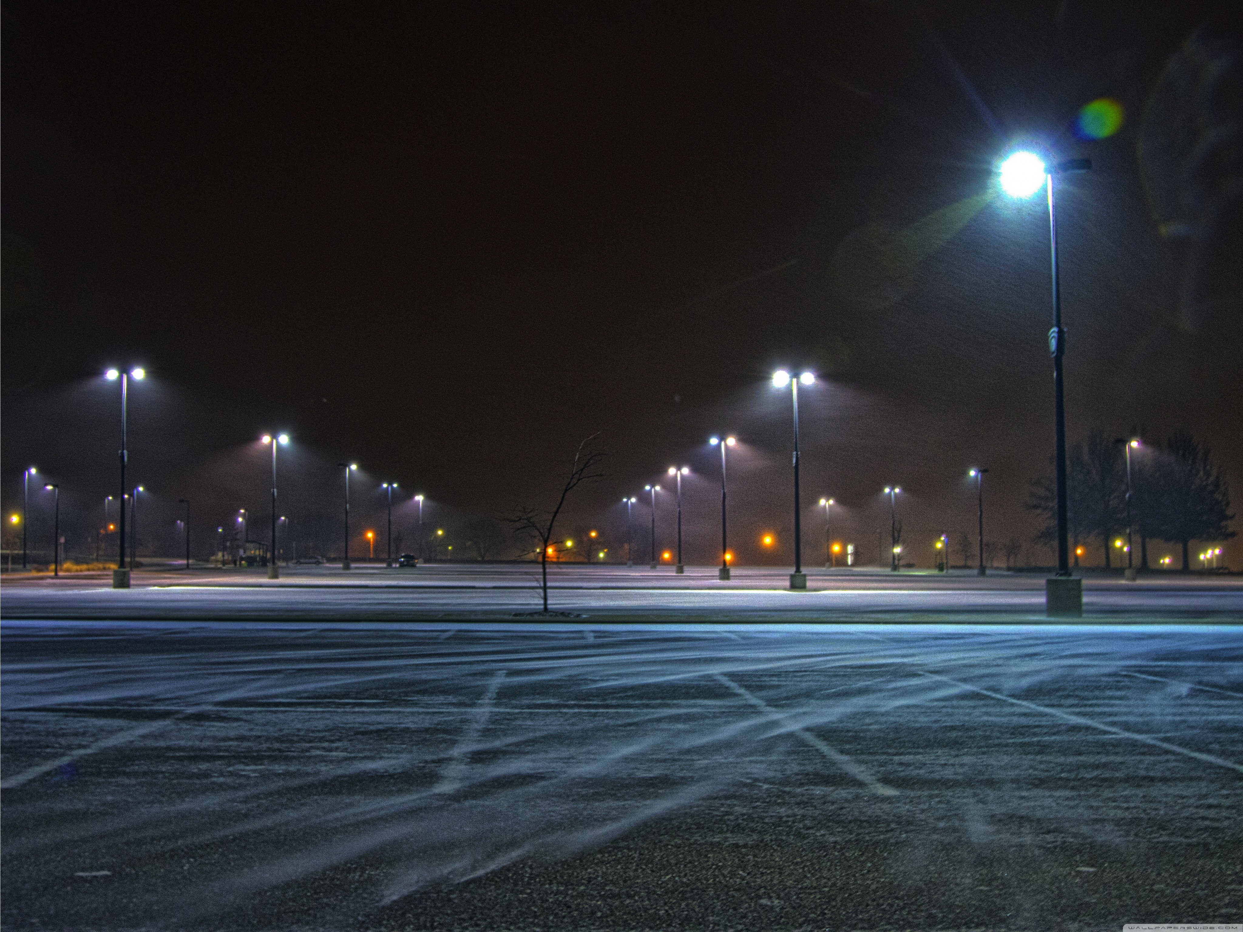 Winds Street Lights Asphalt Parking Lot Wallpaper