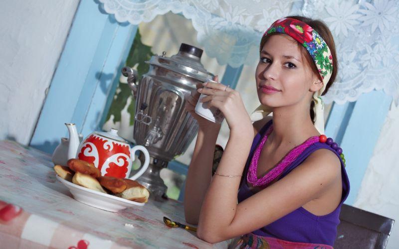 Women tea cookies irina j russians wallpaper