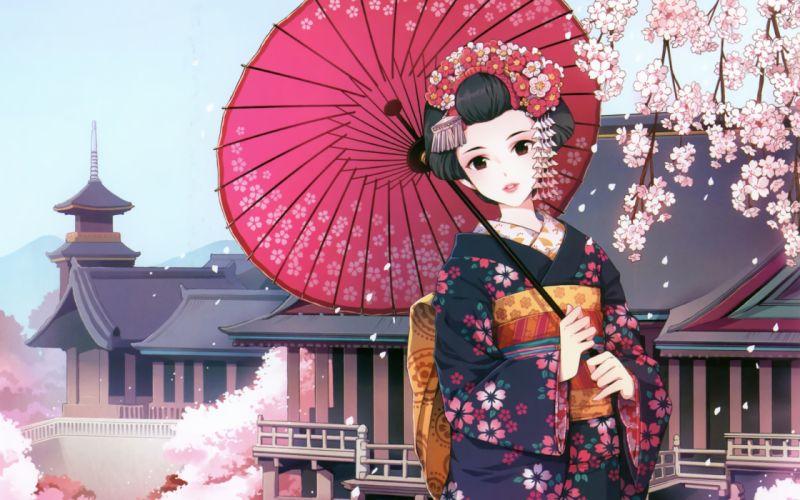 Cherry blossoms flowers kimono umbrellas flower petals japanese clothes anime girls black hair nardack (artist) wallpaper