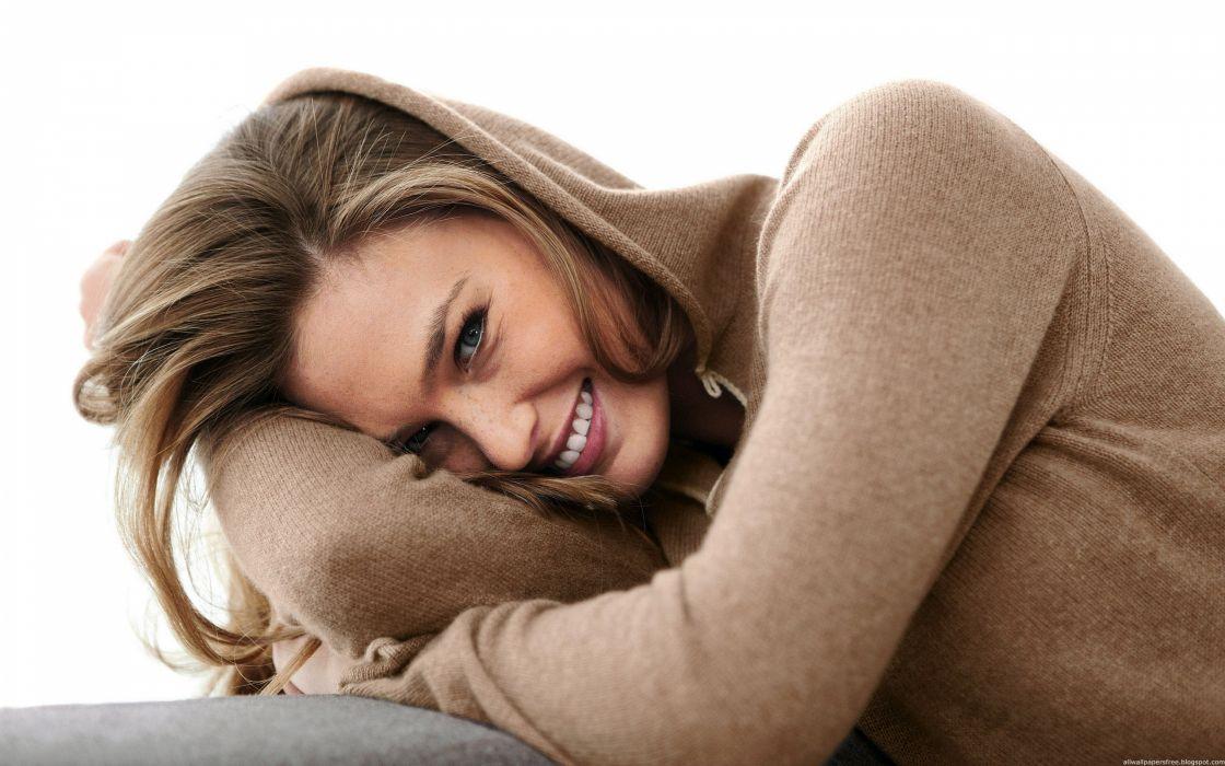 Blondes women models bar refaeli smiling hoodie white background wallpaper