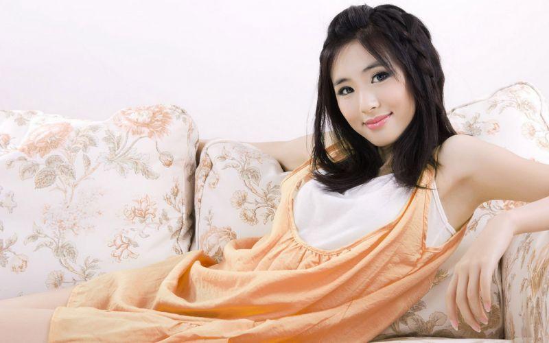 Women dress asians smiling wallpaper