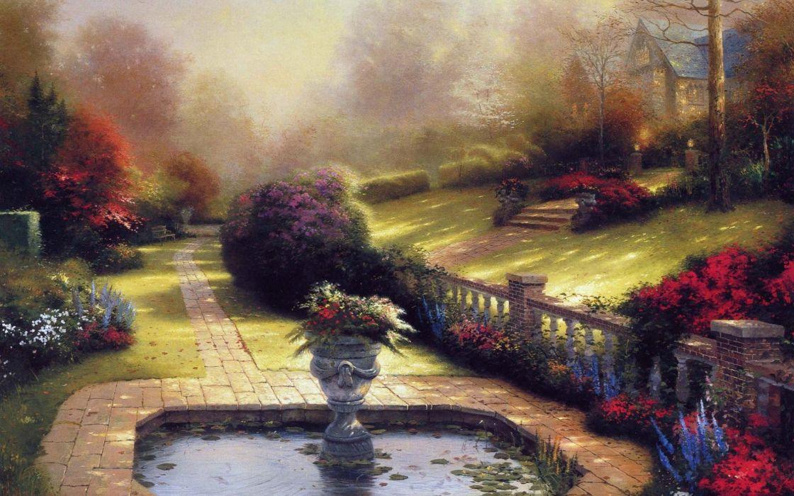 Flowers garden path artwork wallpaper