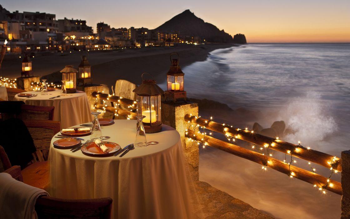 Sunset ocean coast lights romantic restaurant luxury lantern wallpaper