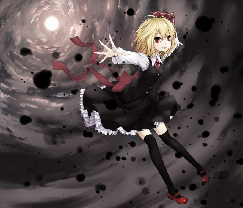 Blondes touhou dress red eyes short hair thigh highs open mouth rumia hair ornaments wallpaper