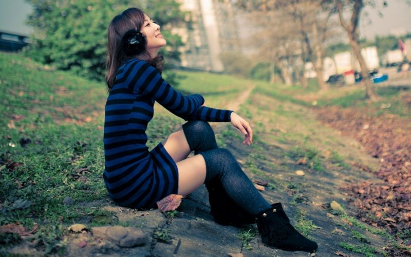 Brunettes women headphones girl asians mikako zhang kaijie wallpaper