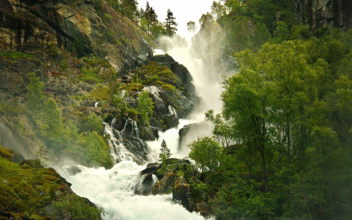 Green mountains landscapes waterfalls wallpaper