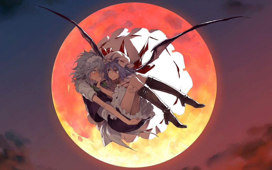 Touhou wings dress moon izayoi sakuya blue hair red eyes short hair white hair two girls remilia scarlet anime girls wallpaper