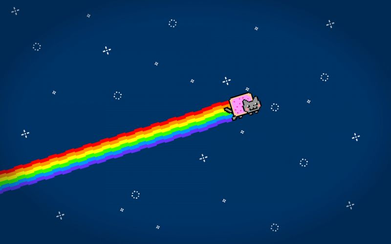 Outer space rainbows nyan cat wallpaper